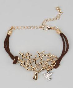 Gold Tree & Bird Bracelet by Sweet Indigo #zulily #zulilyfinds