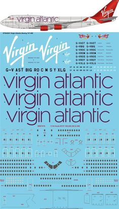 "1/144 Scale Decal Virgin Atlantic ""2010"" Boeing 747-400 screen printed decal - JoyDecals.com"
