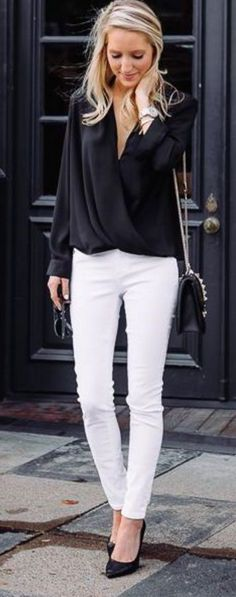 Black Draped Blouse + White Jeans