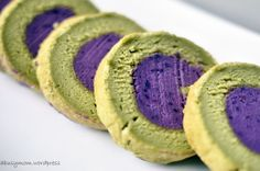 Green Tea (Matcha) Souffle Roll Cake with Purple Sweet Potato Paste