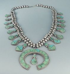 Channel Inlay Squash Blossom Necklace, c.1950