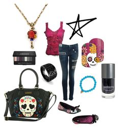 """Day of the Dead"" by kymdashiz on Polyvore featuring Kat Von D, Loungefly, Sweet Romance, Sydney Evan and Iron Fist"