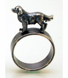 Golden Retriever by Kristin Lora. Ring in oxidized sterling silver. Size 7 (may be sized to fit) $125.00