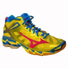 9a8be3ef110 MIZUNO Wave Lightning RX3 Mid Mens Size 9.5 Yellow Blue Volleyball Womens  Unisex