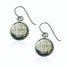 GIRLS-Nautical Mongrammed Earrings - Sterling Silver