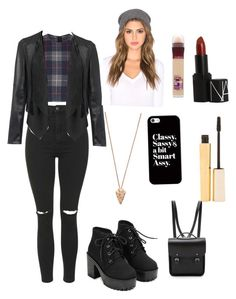 """""""Untitled #6"""" by sissel-hededal ❤ liked on Polyvore featuring mode, Topshop, rag & bone, The Cambridge Satchel Company, Pamela Love, Casetify, Stila, Maybelline, NARS Cosmetics en Mason by Michelle Mason"""