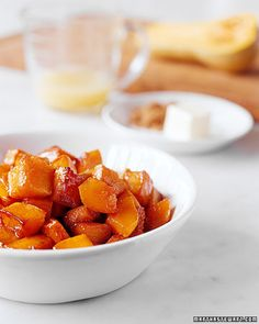 Butternut Squash with Brown Butter | Martha Stewart Living - Nutty brown butter adds a rich dimension to tender pan-roasted cubes of butternut squash.