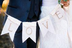 Burlap wedding bunting (Photo by Allison Davis)