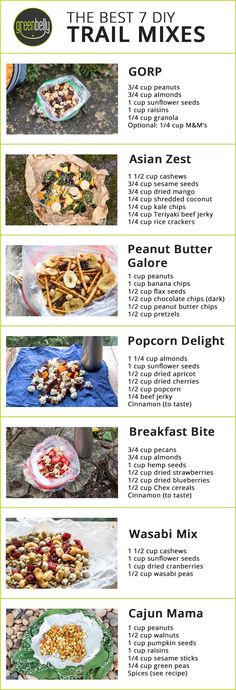 Best Homemade Trail Mix | 7 Simple and Yummy DIY Recipes - Greenbelly Meals Hiking Food, Backpacking Food, Hiking Tips, Ultralight Backpacking, Hiking Gear, Trail Mix Recipes, Snack Mix Recipes, Homemade Trail Mix, Healthy Snacks