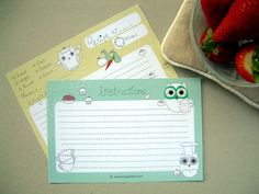 Owl recipe cards from Suz Sanchez.
