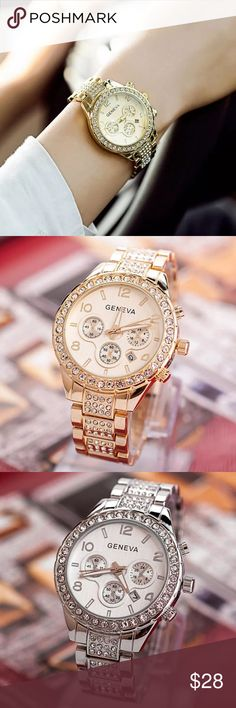 """Luxurious quartz Geneva watch Brand new Movement: Quartz  Gender: Women  Case Material: Stainless steel  Band Material: Alloy Dial Window Material:Glass Band Width: approx. 0.67"""" Case Diameter: approx. 1.57"""" Case Thickness: approx. 0.28"""" Band Length: approx. 10.83"""" 3Colors for your choosing gold,rose gold or silver.  3 small dials just for decoration, no function  Waterproof: daily life's water resistant, but not for bathing, swimming, diving, etc  Package included:  1pc x wrist watch ⌚️…"""