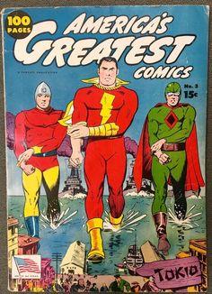 Captain Marvel with Fawcett heroes Bulletman and Spy Smasher. Cartoon Books, Dc Comic Books, Vintage Comic Books, Comic Book Artists, Vintage Comics, Comic Book Covers, Comic Art, Captain Marvel Shazam, Original Captain Marvel