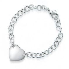 Sterling Silver Heart ID Chain Bracelet