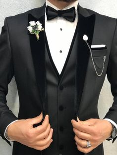 wedding suits men Collection: Summer Autumn 2019 Product: Slim Fit Tuxedo Color Code: Black Size: Suit Material: satin fabric, Machine Washable: No Fitting: Slim-fit Package Include: Jacket, Vest, Pants Only Gifts: Shirt, Chain and Bow Tie Black Tuxedo Wedding, Red Tuxedo, Tuxedo For Men, Mens Black Wedding Suits, Maroon Tuxedo, Groom Tuxedo Wedding, Wedding Tuxedos, Tuxedo Dress, Tuxedo Suit