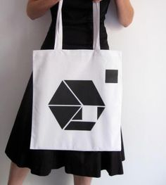 Tote tangram / Design shopping bag / Hand printed by Marideestudio, $16.00