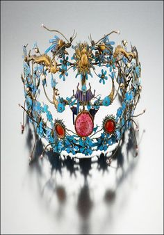 "China | Ceremonial headdress from the 19th century | Included in the ""Wedding Rituals"" exhibition at the National Folk Museum of Korea (Dec '12 - 11. Feb '13)"