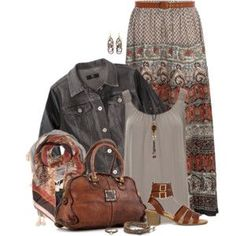 Denim Jacket and Maxi Skirt in Shades of Brown