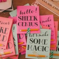 colorful notebooks from glitter & rye  (ideas for prizes to game night & rehearsal dinner)