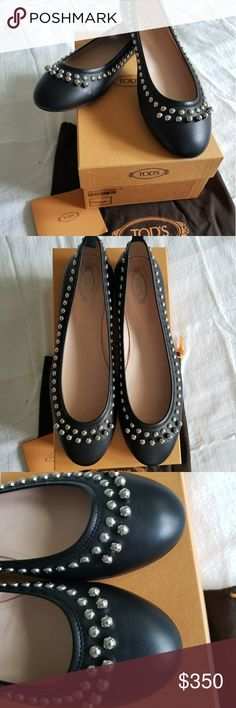 TOD'S Ballerina Authentic TOD'S black studded ballerina. Very rare style. Very good condition!!! Worn once (unfortunately too small for me). Bought at TOD'S Store in Hamburg Germany. Comes with dust bag, box and certificate. Absolutely no signs of wear on shoes, minor scrape on sole (last picture). These look good with anything - dress down with jeans or dress up with skirt or dress. Accepting reasonable offers ☺ Tod's Shoes Flats & Loafers