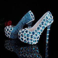 Limited edition blue rhinestone shoes