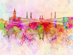 Mecca skyline in watercolor background ...  Mecca skyline, Saudi Arabia, abstract, architecture, art, background, bright, cityscape, color, colorful, creativity, grunge, illustration, ink, landmark, mecca, middle east, monuments, paint, panoramic, paper, skyline, splash, splatter, texture, vintage, watercolor