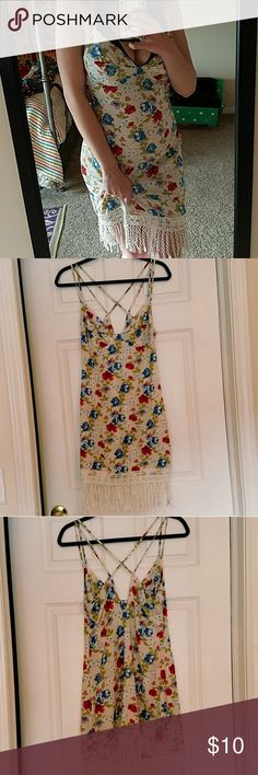 """Strappy Floral Slip Dress Very sexy slip! Wear out for the night or for saucy time with your man ?? colors of off white, blue, red and green, and lacey tassels along the bottom  Worn only once to a lingerie girls night. I have a 37"""" bust, 26"""" waist and this fits well.  Please ask if you do have :) Tobi Intimates & Sleepwear Chemises & Slips"""