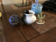 Vase, bowl with lid, ring holder, and closed form candle holder