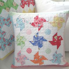 happy little cottage - pinwheel pillow or wall hanging
