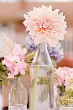 simple clear bottles- Petite arrangements at varying heights via Style Me Pretty