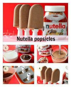 Funny pictures about Tasty Nutella Popsicles. Oh, and cool pics about Tasty Nutella Popsicles. Also, Tasty Nutella Popsicles photos. Köstliche Desserts, Frozen Desserts, Frozen Treats, Dessert Recipes, Nutella Popsicles, Popsicles Diy, Homemade Popsicles, Diy Nutella, Nutella Recipes