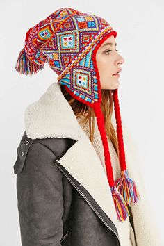 Patterned Knit Trapper Hat - Urban Outfitters