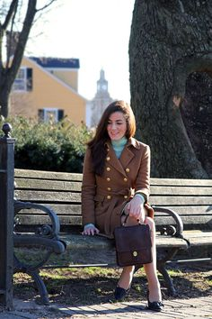 Classy Girls Wear Pearls: Mint Julep {Very interesting outfit; love the colored tweed and the turtleneck sweater}