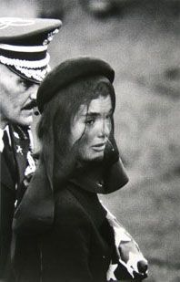Jackie Kennedy at the funeral of JFK - watched it on TV - so very, very sad  1963