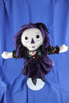 Ready to ship Goth Raggedy Ann style doll Black and purple Free Shipping. $45.00, via Etsy.