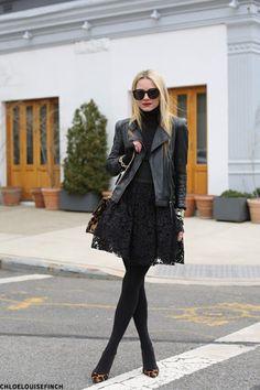 Black skirt, black leather jacket.  Beautiful.