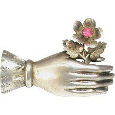 Big Antique Victorian Sterling Silver Ruby Paste Hand & Flower Brooch