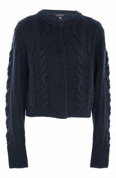 New M/&S Indigo Sage Hand Knit Twist Cable Cardigan Sz UK 16