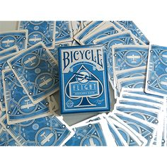 Bicycle Flight Deck (blue) by USPCC - This decks of standard poker sized playing cards and deck serves as an homage to aviation from the earliest days to the 1930s-a time defined by travel, art deco style and the spirit of adventure. A completely custom deck, The Airplane Blue Deck will be printed by the USPCC in the get it here: http://www.wizardhq.com/servlet/the-17355/bicycle-flight-deck-blue-by-uspcc/Detail?source=pintrest