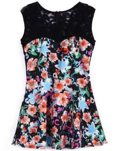Black Sleeveless Contrast Lace Floral Dress pictures