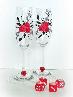 Schöne Hand verziert rot Hochzeit Jahrestag von JoliefleurDeco