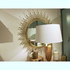 Spike Mirror | Clayton Gray Home | antique brass plated beveled mirror with a Hollywood Regency style