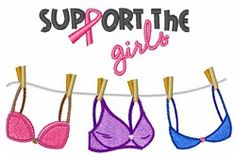 Support The Girls 2.61 inches H x 4.01 inches W machine embroidery design. Breast cancer awareness. pink ribbon