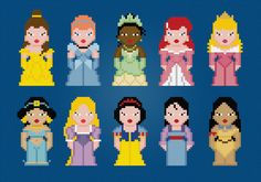 Disney Princess Cross Stitch PDF Pattern by pixelpowerdesign, $8.00