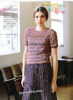 Colorful top with diagram - another way of doing this, is using your imagination and building up on your favorite crochet stitch. I learned to do this type from bottom to top.