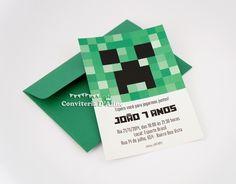 Convite infantil personalizado tema Minecraft