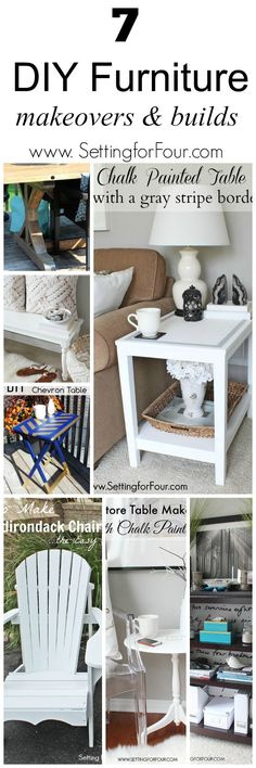 7 Beautiful DIY Furniture Makeovers and Builds. Save money and build your own furniture and refresh dated pieces. www.settingforfour.com