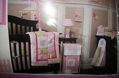 KIDS LINE MOSAIC GARDEN 6 PC CRIB SET WHITE, PINK, GREEN NURSEY BEDDING  , $109.99