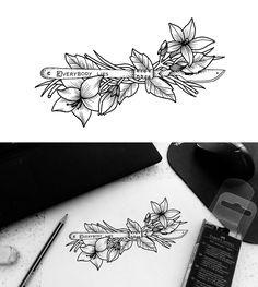 Dessin pour tattoo, amaryllis, jasmin et ses feuillages, avec scalpel. Everybody lies. Mnano Dunrad ------------------------ https://www.behance.net/mnanodunrad @mnanodunrad