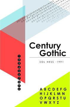 Century Gothic Type Specimen Poster and Spreads on Student Show