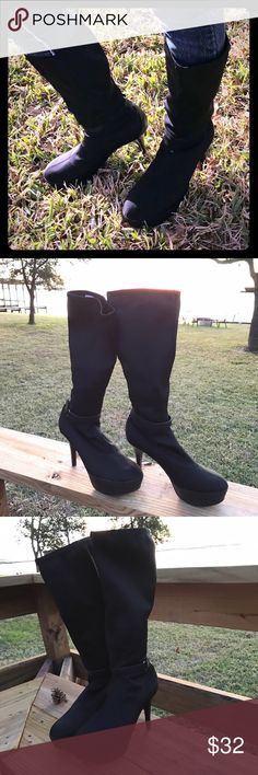 Chinese Laundry stretch black platform heel boots Chinese Laundry brand micro stretch black platform high heel boots in a size 10 M. Slim look. Worn once. Good condition. You can see these boots in some of my other modeled clothing. Originally $79.99. Chinese Laundry Shoes Heeled Boots